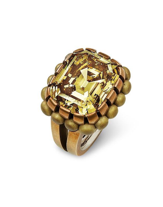 Hemmerle, Ring, 2014. Diamond, bronze, brass and white gold ...