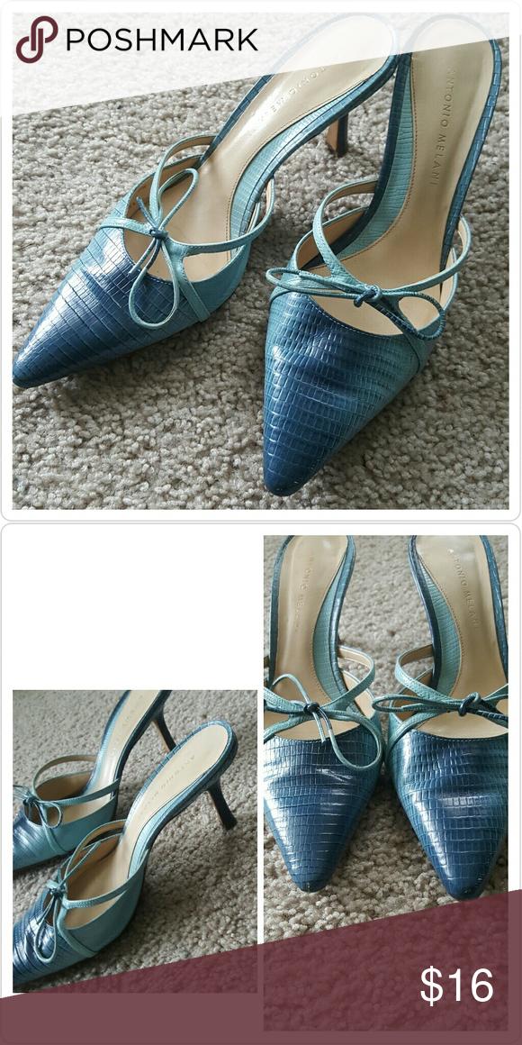 Antonio Melani Heels Slide on heels In almost new condition! Size 7 Leather upper linning  2.5 inch heel ANTONIO MELANI Shoes
