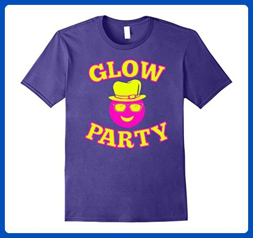 Mens Glow Party Hat Sunglasses Neon Birthday T Shirt 3XL Purple