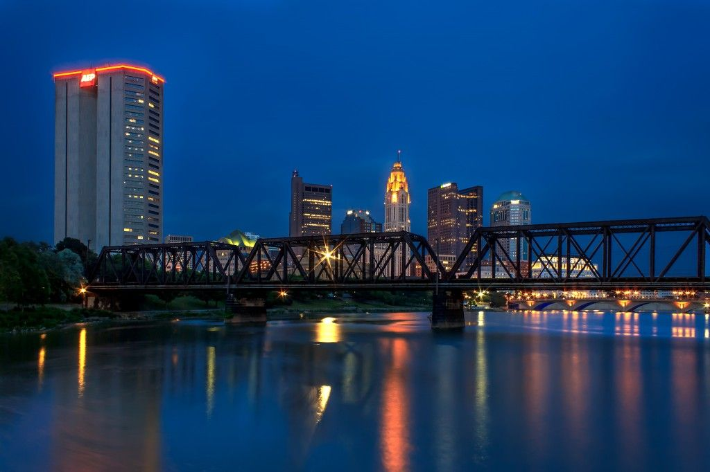The Skyline Of Downtown Columbus Ohio At Night Downtown