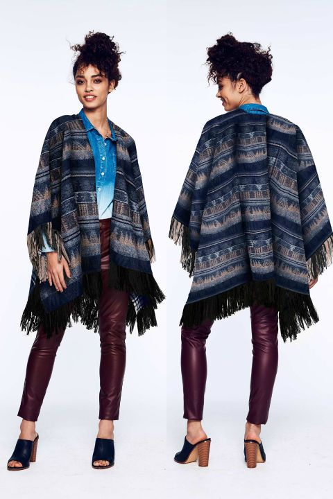 Our take on the classic poncho may prove to be your cover-up choice for the fall season. Wear this cozy jacket to play with layers and proportion or pair with neutrals and denim to modernize the rest of your look. Blanket Fringed Poncho, $79.99, editby17.com