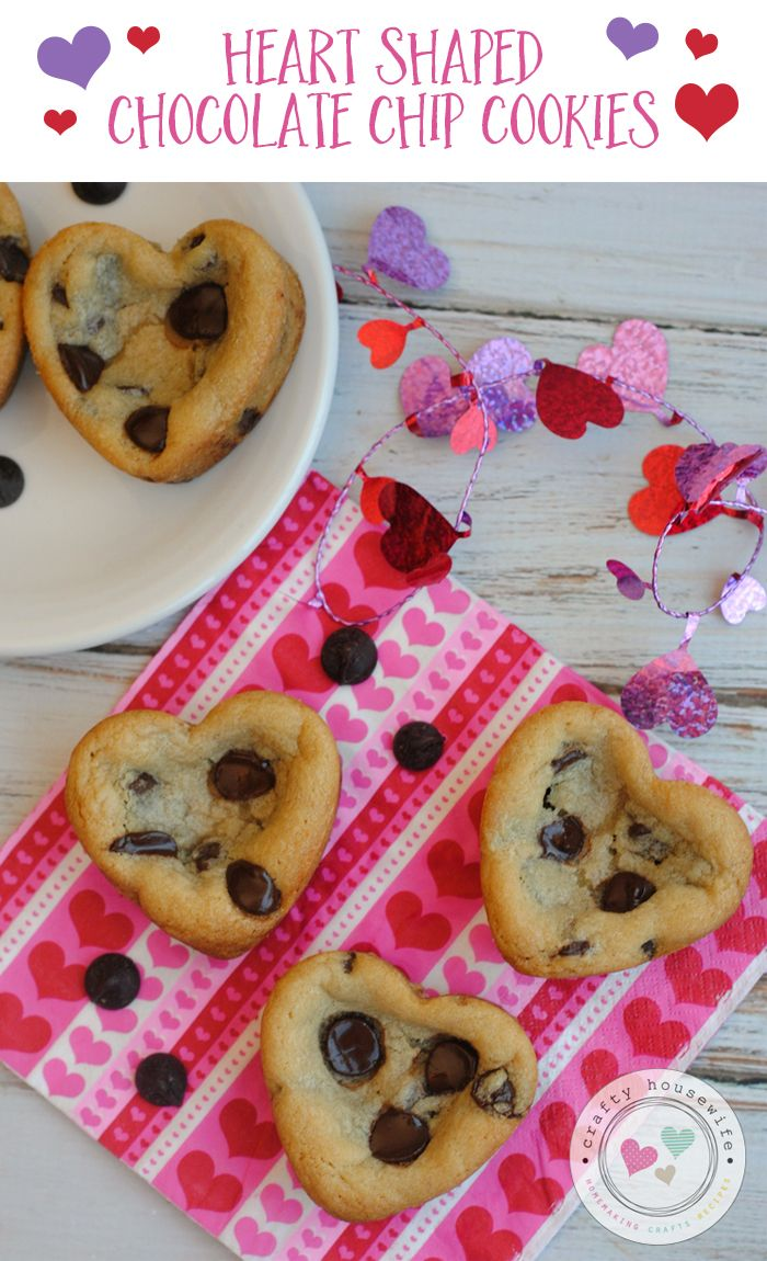 Valentine S Day Heart Shaped Chocolate Chip Cookies Recipe Cookies