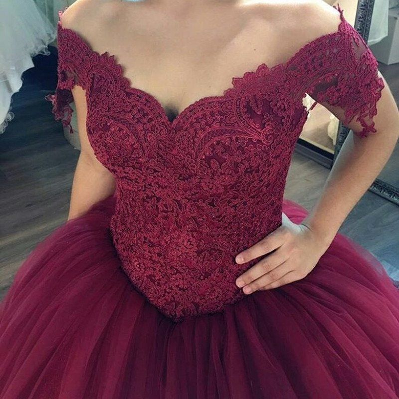 Burgundy Wedding Dresses Ball Gowns Lace Off The Shoulder | Pretty ...