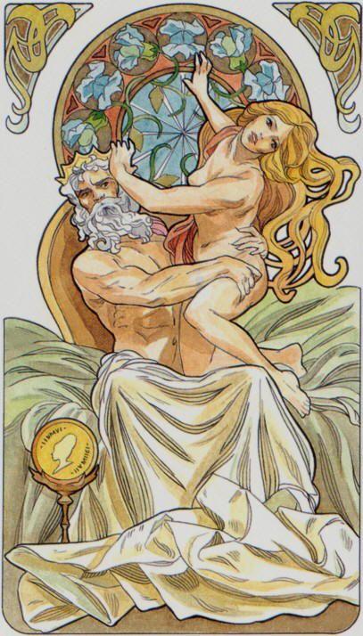 Le roi d'écus - Tarot art nouveau par Antonella Castelli