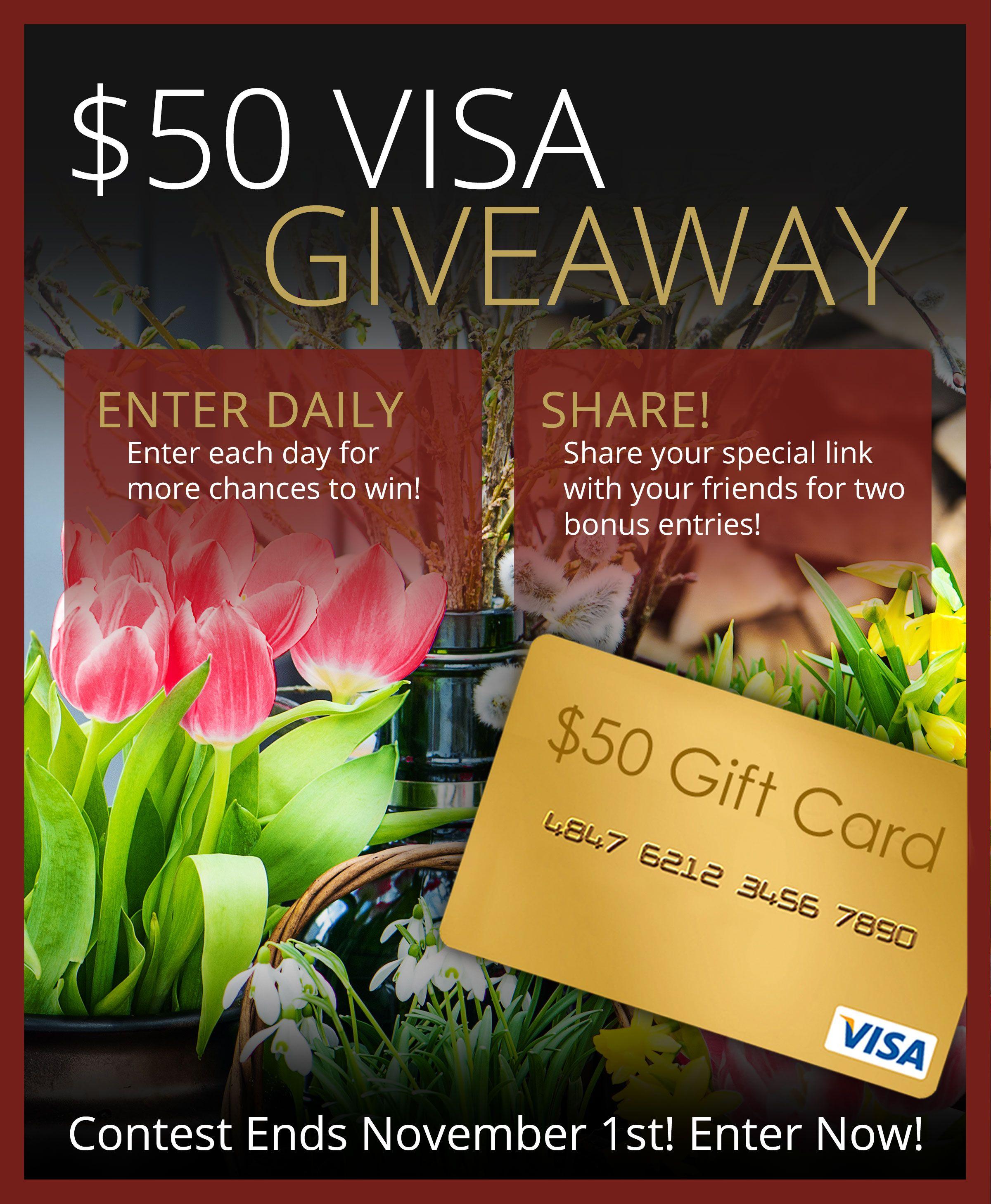 50 visa gift card giveaway ends 111 visa gift card