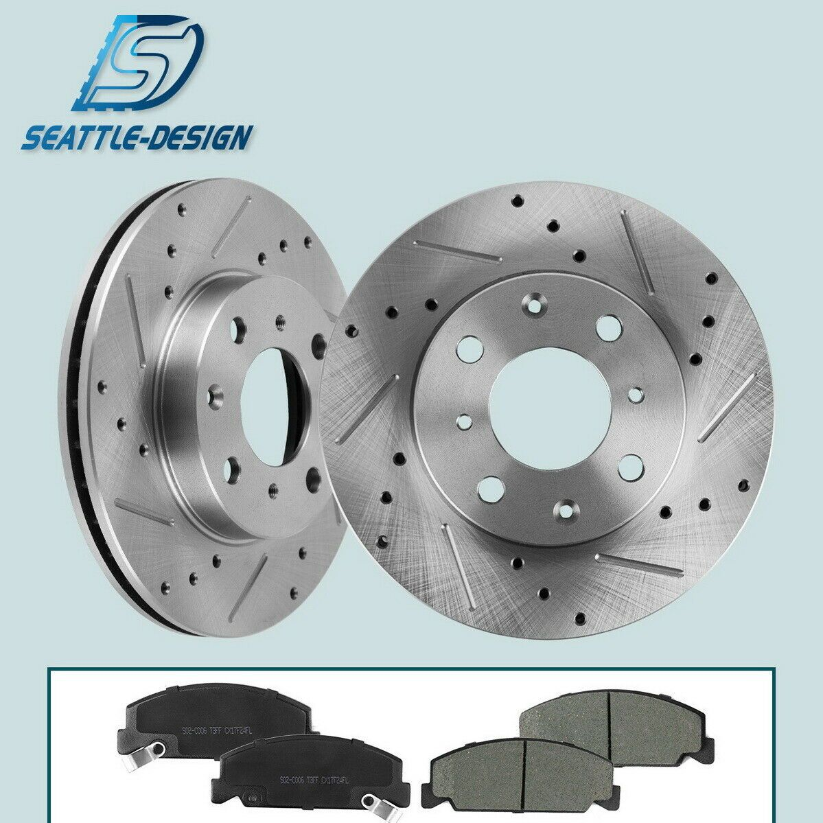 Nakamoto Brake Rotor Drilled Slotted /& Ceramic Pad Kit Front /& Rear Set for BMW