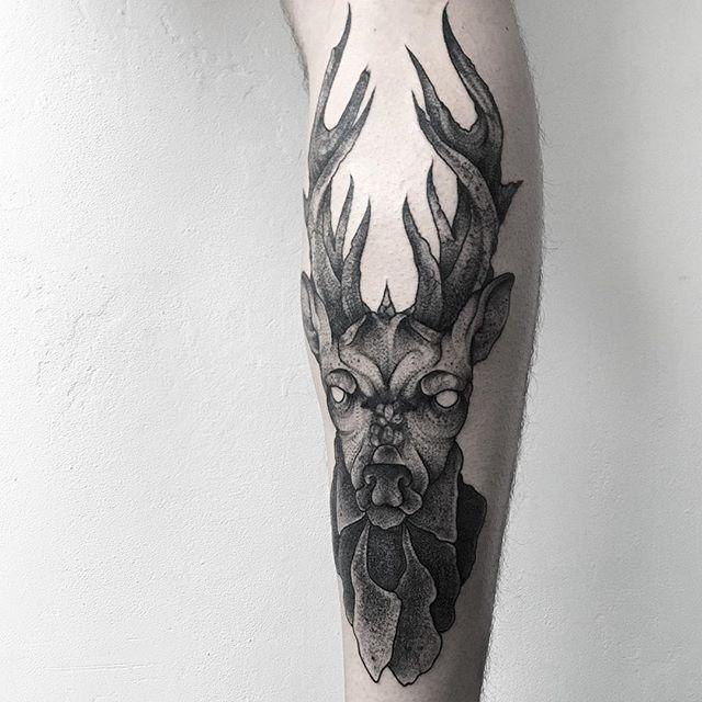 Black Work Elk Tattoo By Wpkorvis