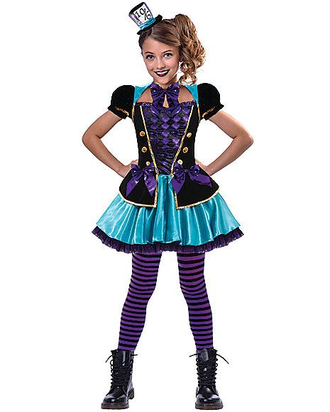 TEENAGE MAD HATTER GIRL COSTUME FANCY DRESS ONE SIZE UP TO 15 YEARS