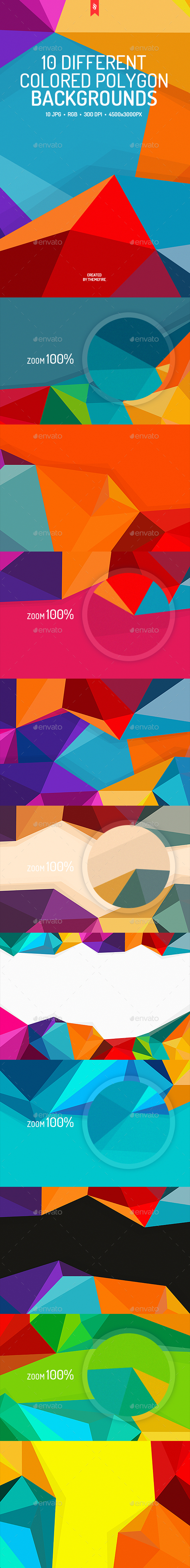 10 Different Colored Polygon Backgrounds  #polygonal #colorful • Download ➝ https://graphicriver.net/item/10-different-colored-polygon-backgrounds/18810197?ref=pxcr