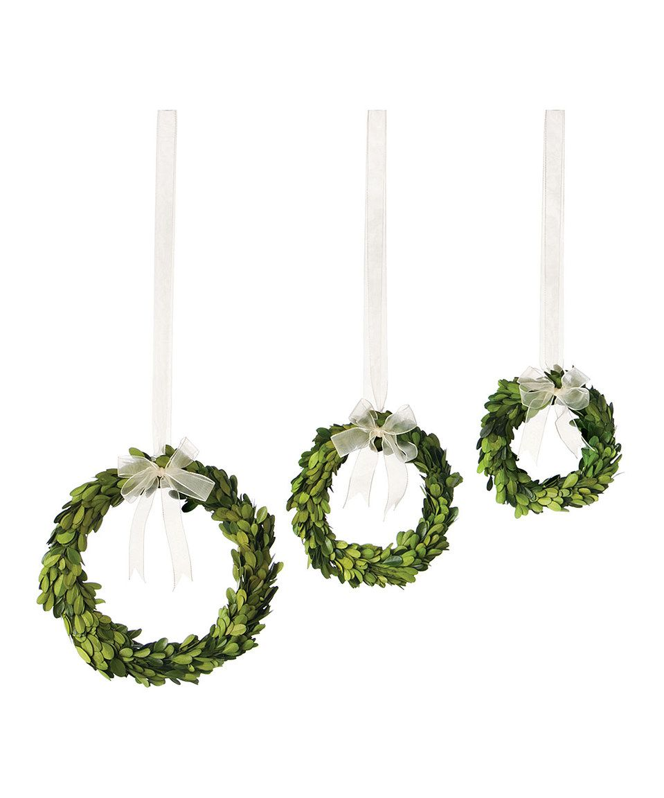 Take a look at this Round Preserved Boxwood Wreath Set today!