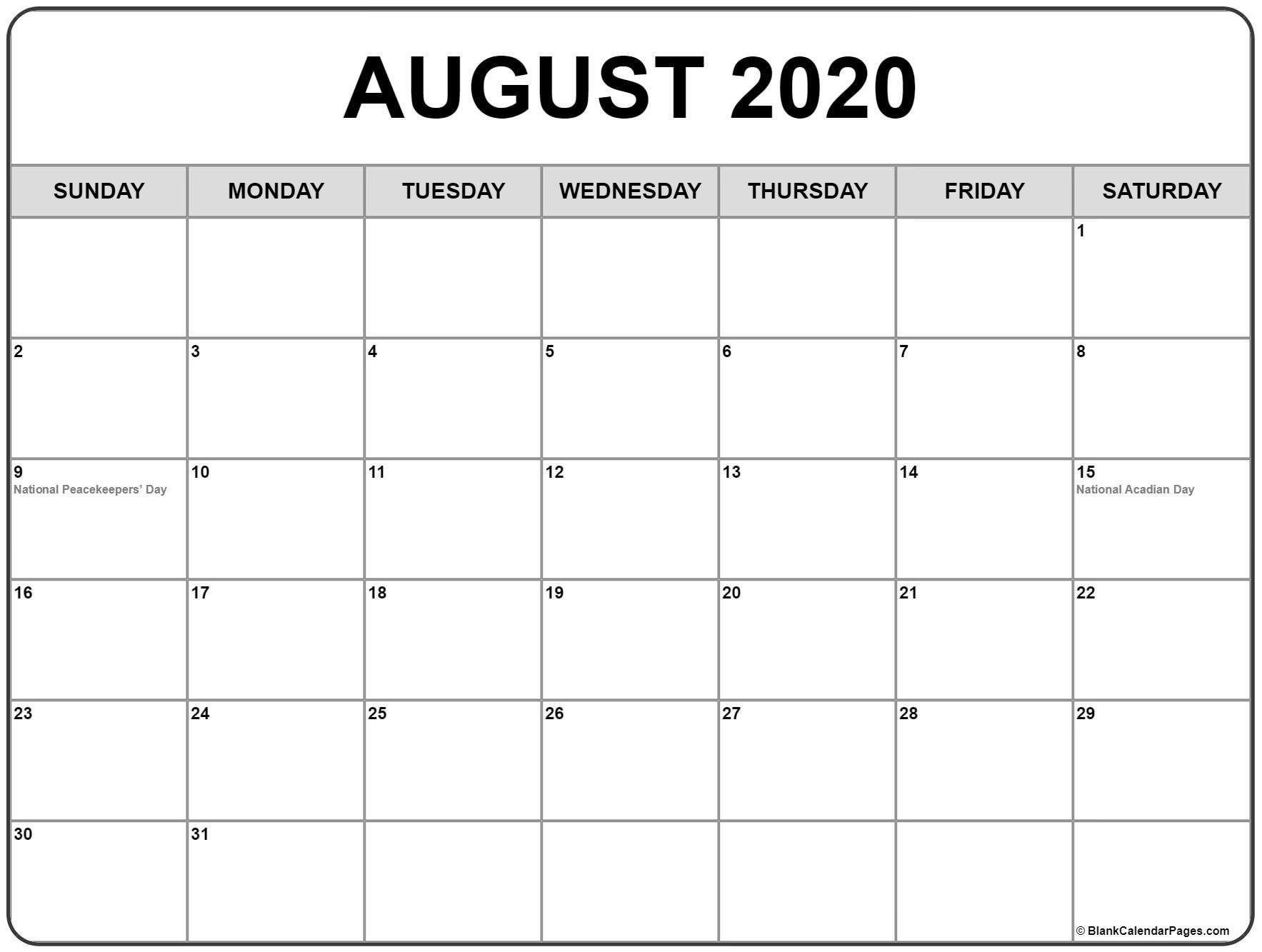 Calendar August 2020 Printable Calendar Printables Monthly