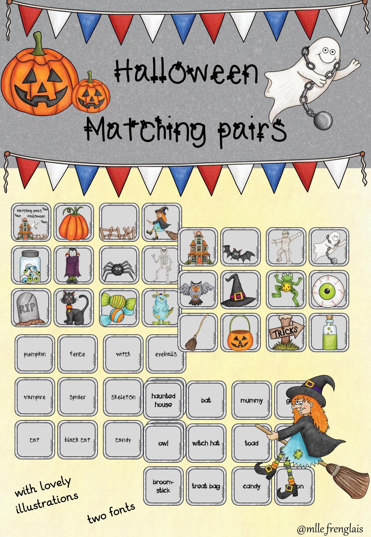 Halloween Matching Pairs In 2020 Unterrichtsmaterial Halloween Englischunterricht