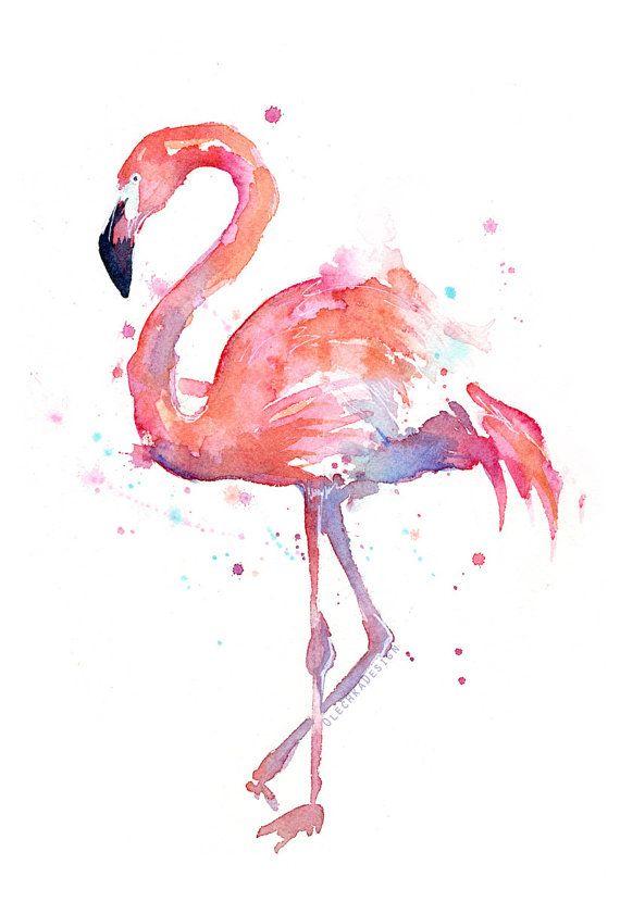 Flamingo Watercolor Painting Flamingo Art Print Flamingo Wall