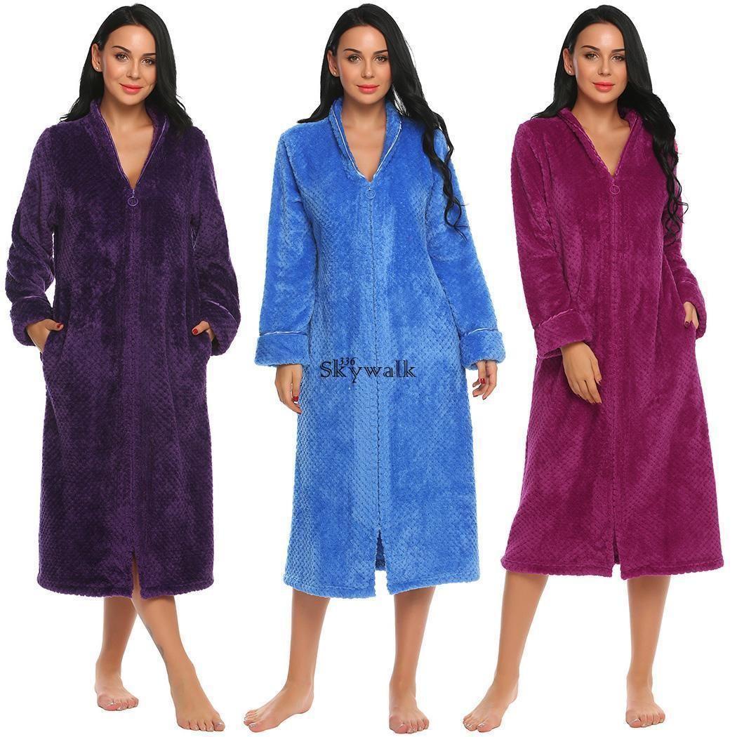 Women Men s Long Sleepwear Robes Shawl Collar Coral Fleece Bathrobe Spa  Pajamas  Bathrobe  Collar a99f76d10