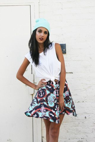 """Skye"" Nautical Scarf Print Skirt"