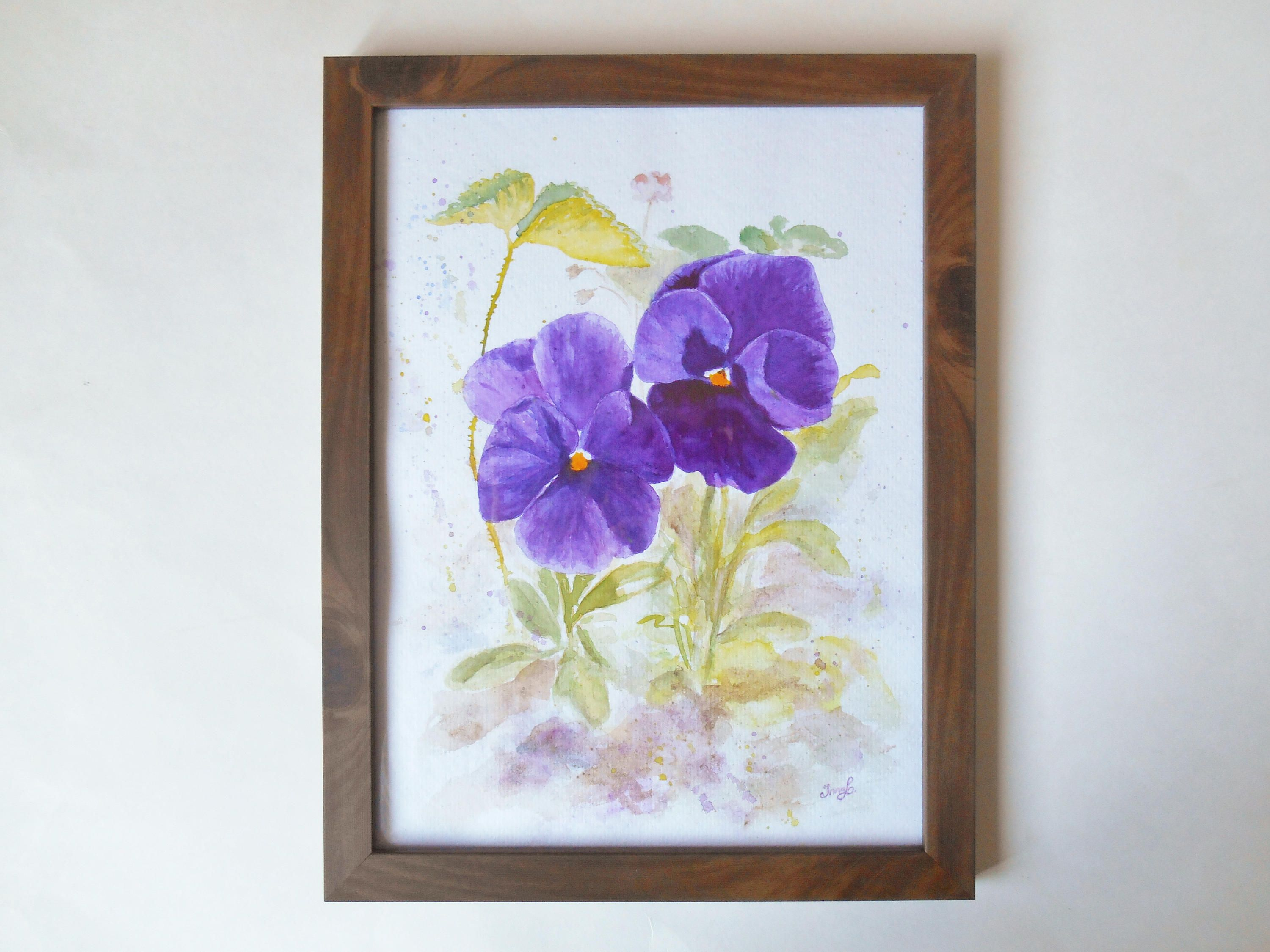 Watercolor Original Painting Watercolour Pansy Flowers Painting