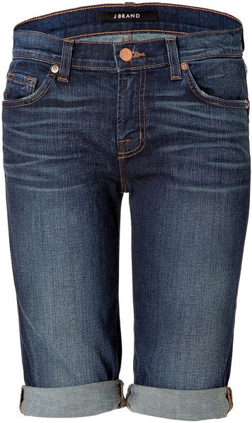 Mid Blue Jean Shorts - Lyst
