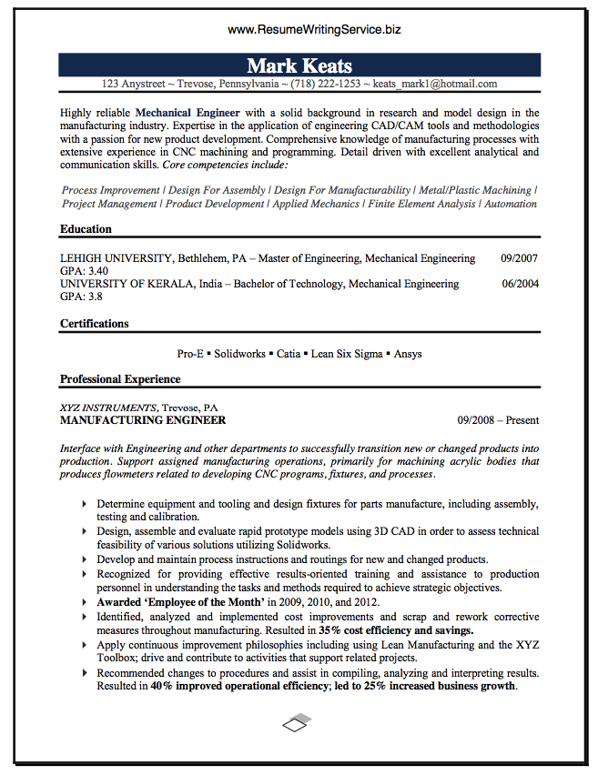 mechanical engineer resume sample career education pinterest