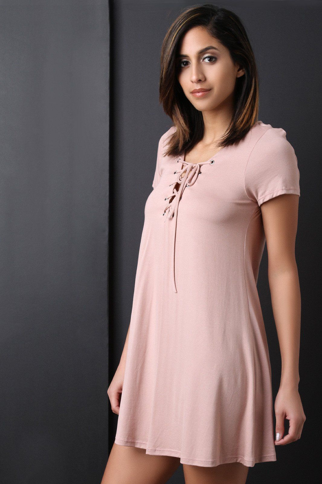 Lace up yoke shift dress products pinterest products