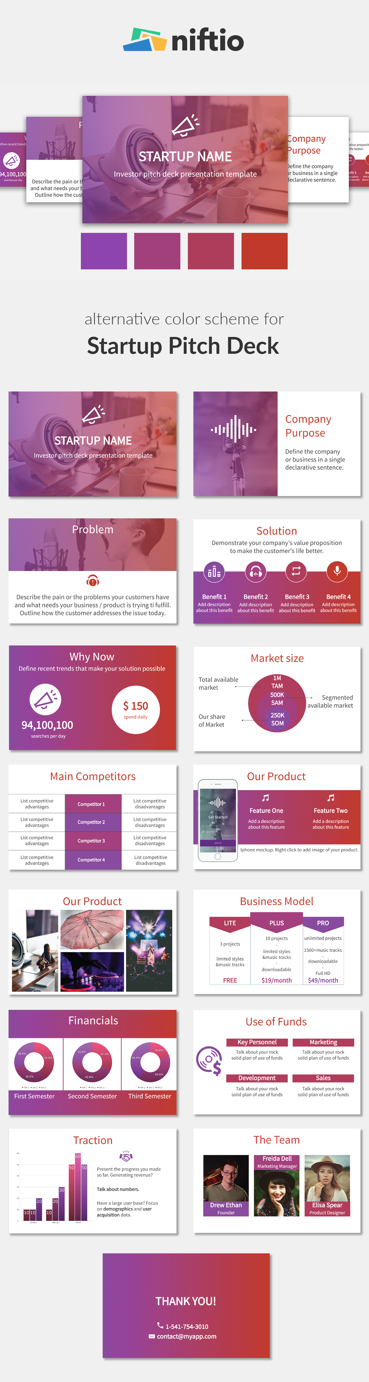 Business Presentation Template Alternative Color Scheme Bold - Awesome free pitch deck template scheme