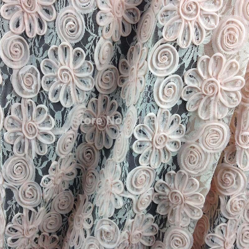3D Hot Selling Chiffon Embroidery Lace Fabric For Dressing Blouse Skirt Wedding Applique Allover Sewing Accessories Cloth