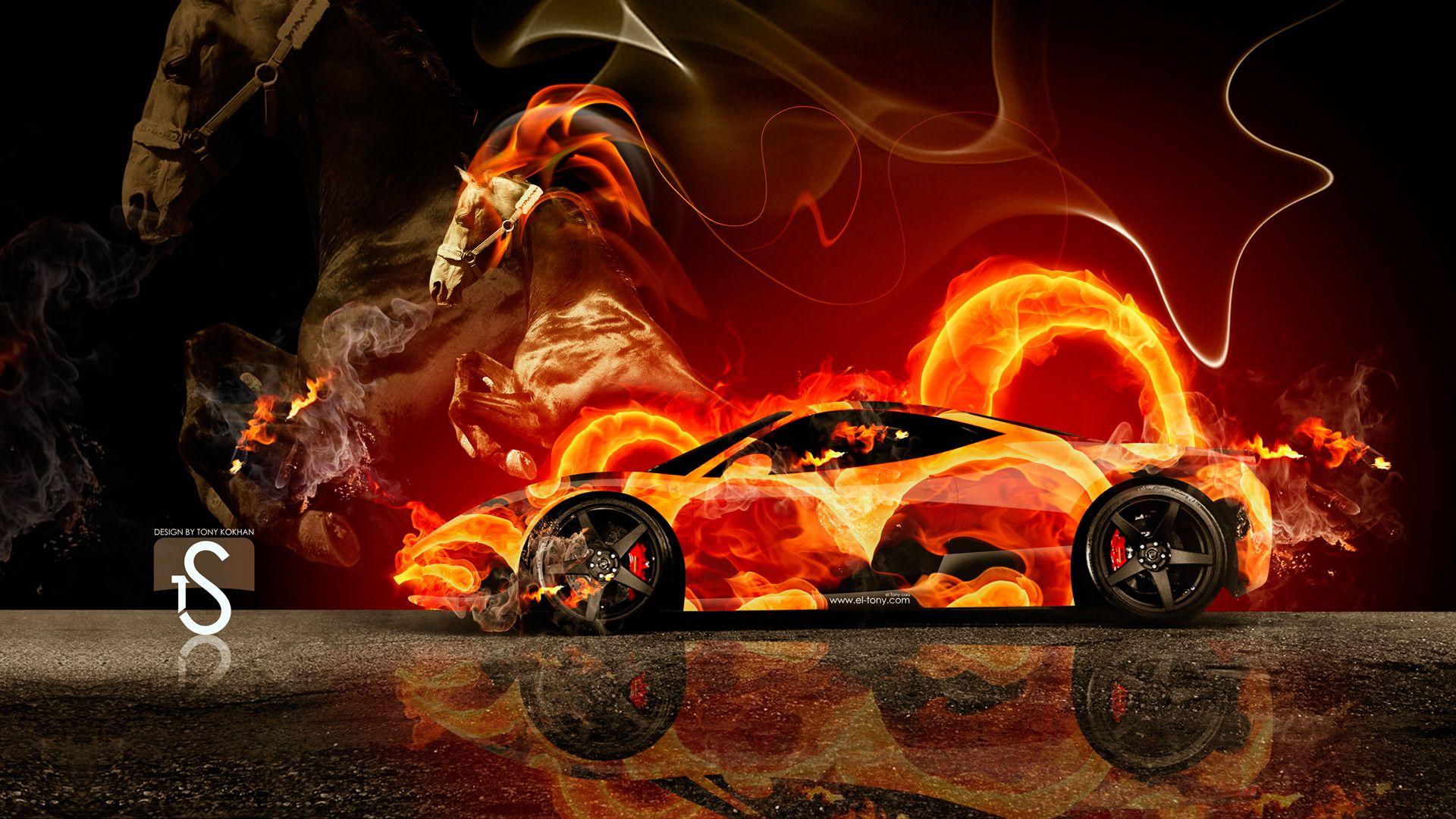 Lamborghini aventador side fire abstract car 2014 hd wallpapers design - Ferrari Fire Horse Car 2014 El Tony Ferrariabstracthorsewallpapers