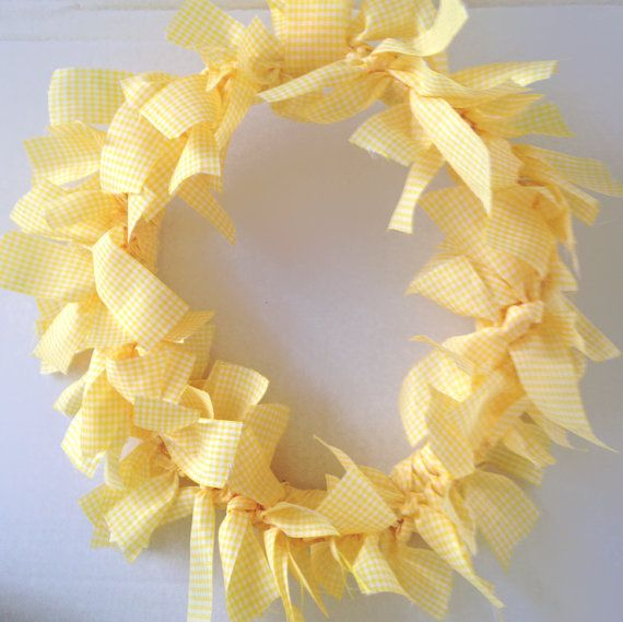 Pale yellow Gingham check fabric ribbon wreath bridal shower, baby shower, parties, home decor wall hanging