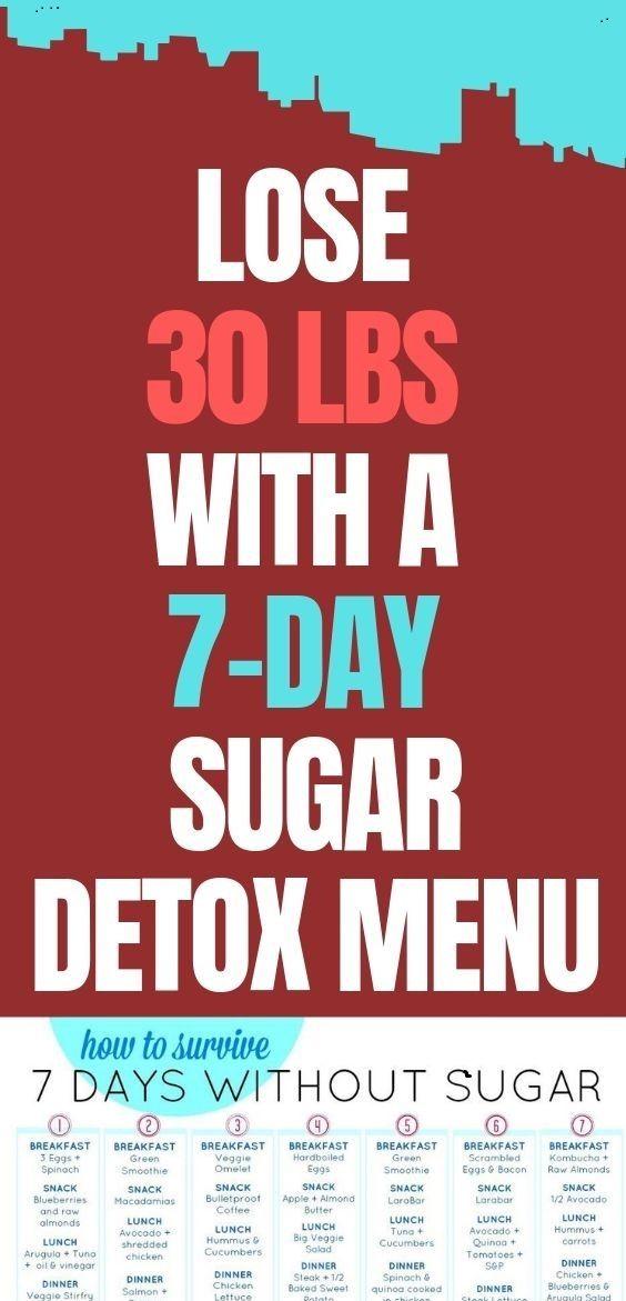 LOSE 30 LBS. WITH A 7-DAY SUGAR DETOX MENU PLAN #sugardetoxplan