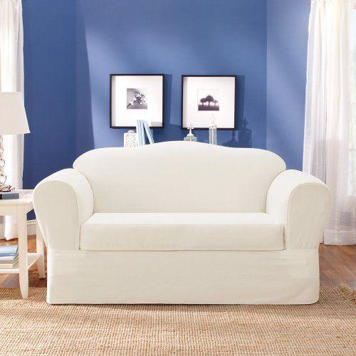 Sure Fit Twill Supreme 2 Piece Sofa Slipcover White