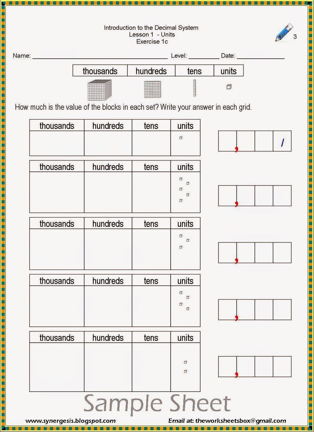 The Worksheets Box Decimal System Number System Worksheets Kids Worksheets Printables Printable Worksheets Decimal addition lesson answer key