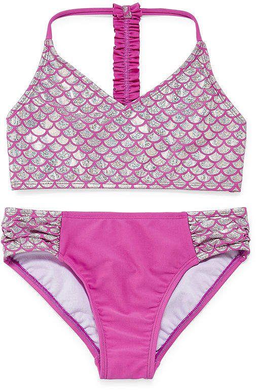 Freebily Kids Girls Two Piece Mermaid Swimsuit Tankini Swimwear Swimming Costumes Seashell Top with Bottom Set