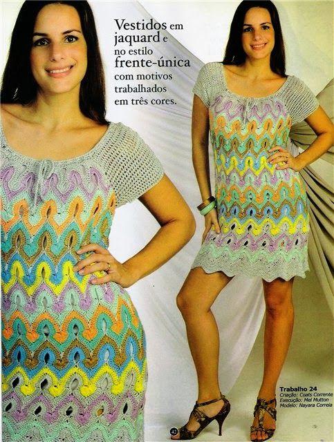 TRICO y CROCHET-madona-mía: Vestido a crochet zig zag con patrón ...
