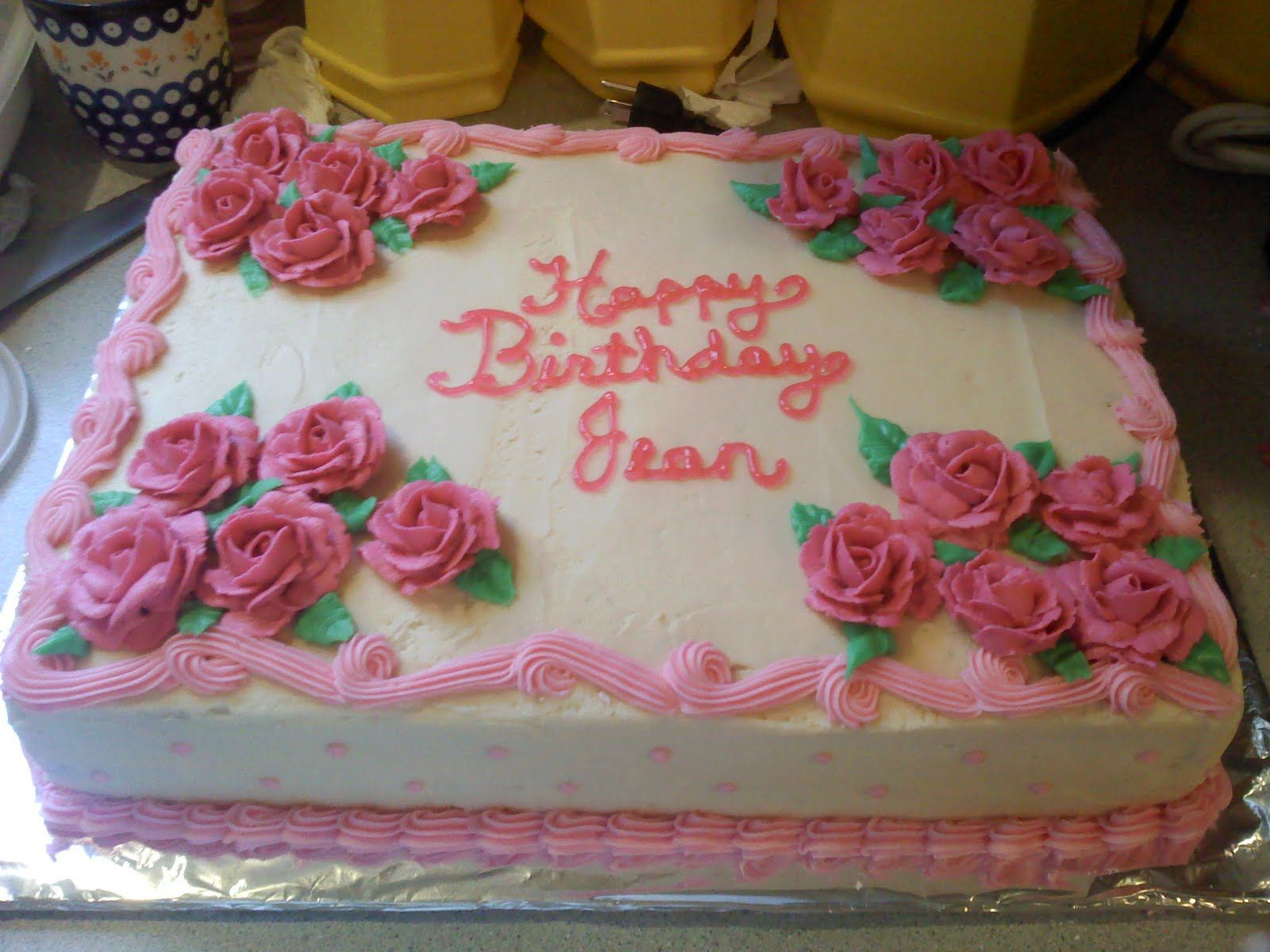 Half sheet cake for a surprise birthday party Description from