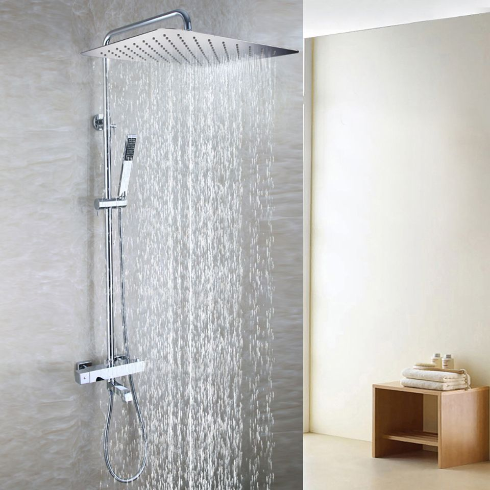 55x35 Cm Ultra Thin Rain Shower Head Brass Hand Shower Holder