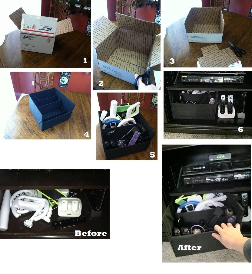 Organize your Wii remotes and attachments with little or no money.