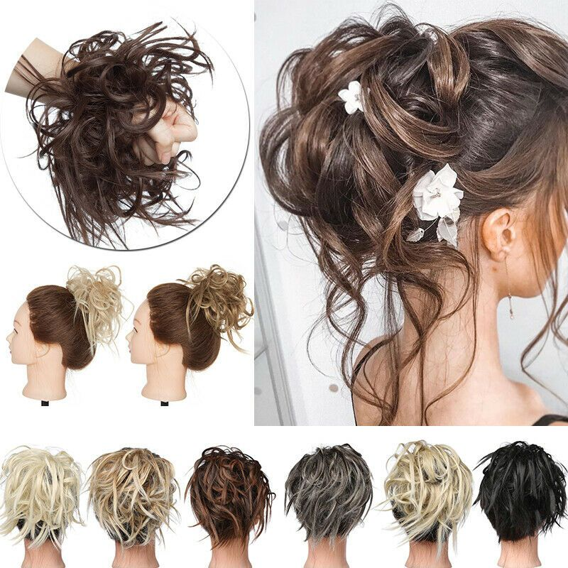 Hair Bun Tousled Srunchies Natural Ponytail Long Hair Wrap Updo Hair Extensions