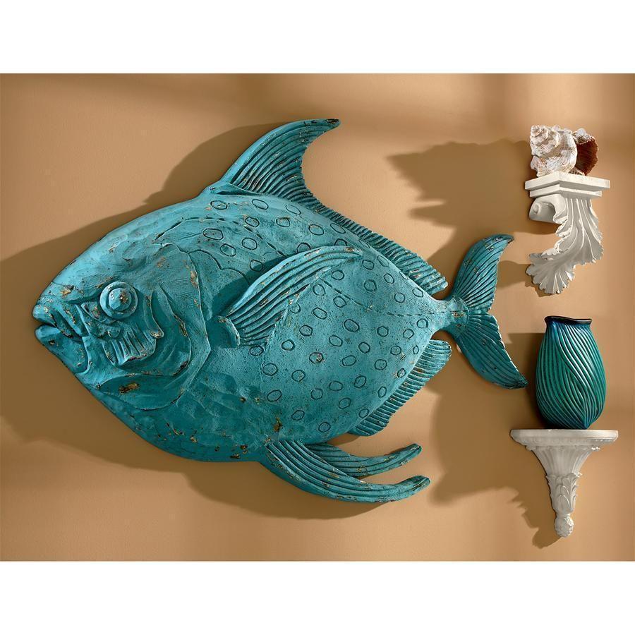 Ahoy decoy fish wall sculpture design toscano wall
