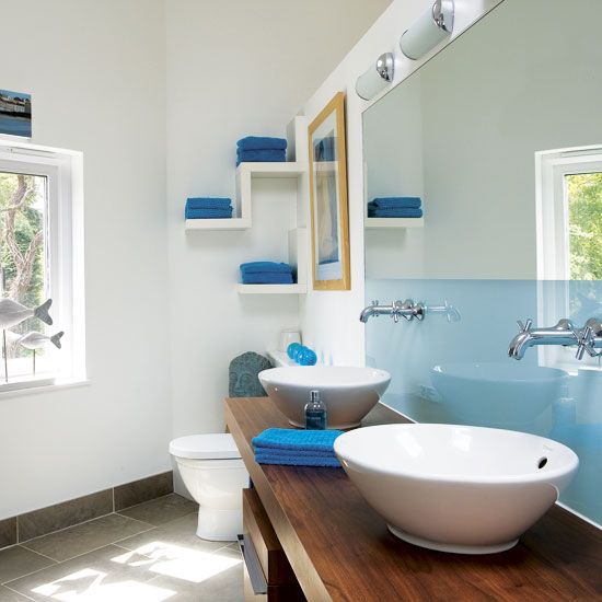 I like the blue glass around the faucets