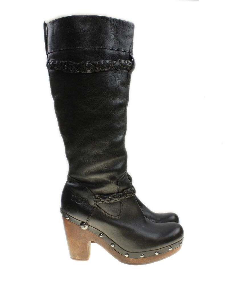f56ccbbf7c2 UGG Australia Savanna Womens Size 7 Leather Shearling Clogs Boots Black Rg   350  UGGAustralia