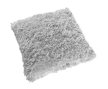 Cojín de poliéster con pelo, gris - 50x50 cm