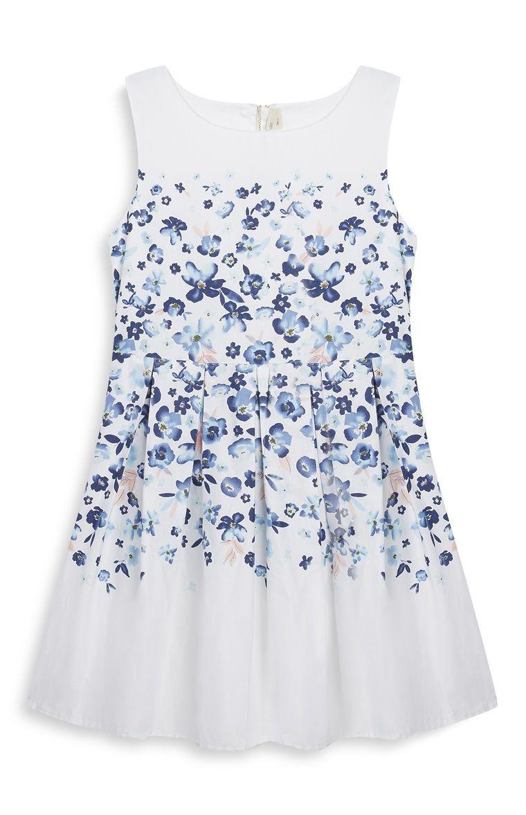 Vestido flores azul y blanco niña mayor