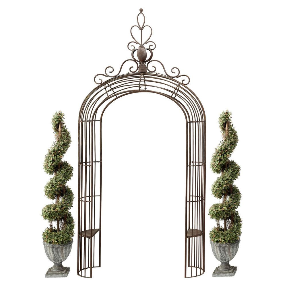 Vintage Garden Arch Patio Steel Rust Resistant Trellis Ornamental Feature Seats Garden Arches Garden Arch Tuscan Design