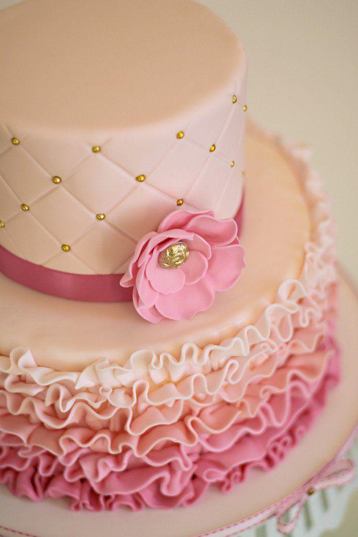 To Eat A Tiara Pink Ruffle Princess Cake With Edible Gold Wallpaper