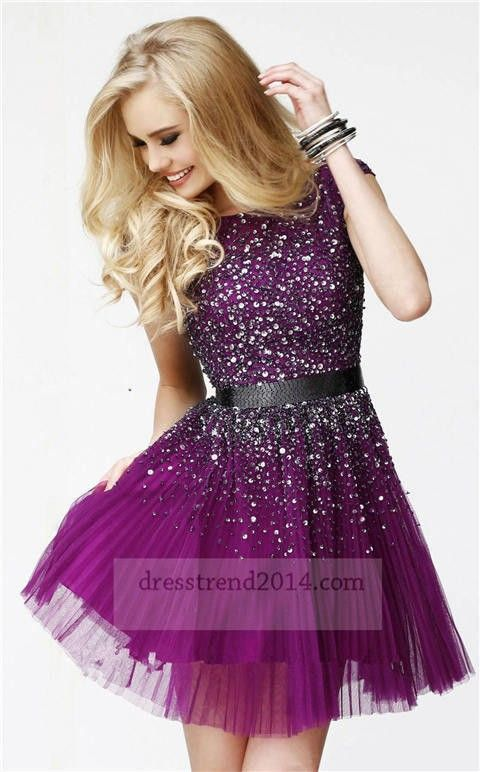 2015 Beaded Short Purple Round Neck Prom Dress Short Purple Prom