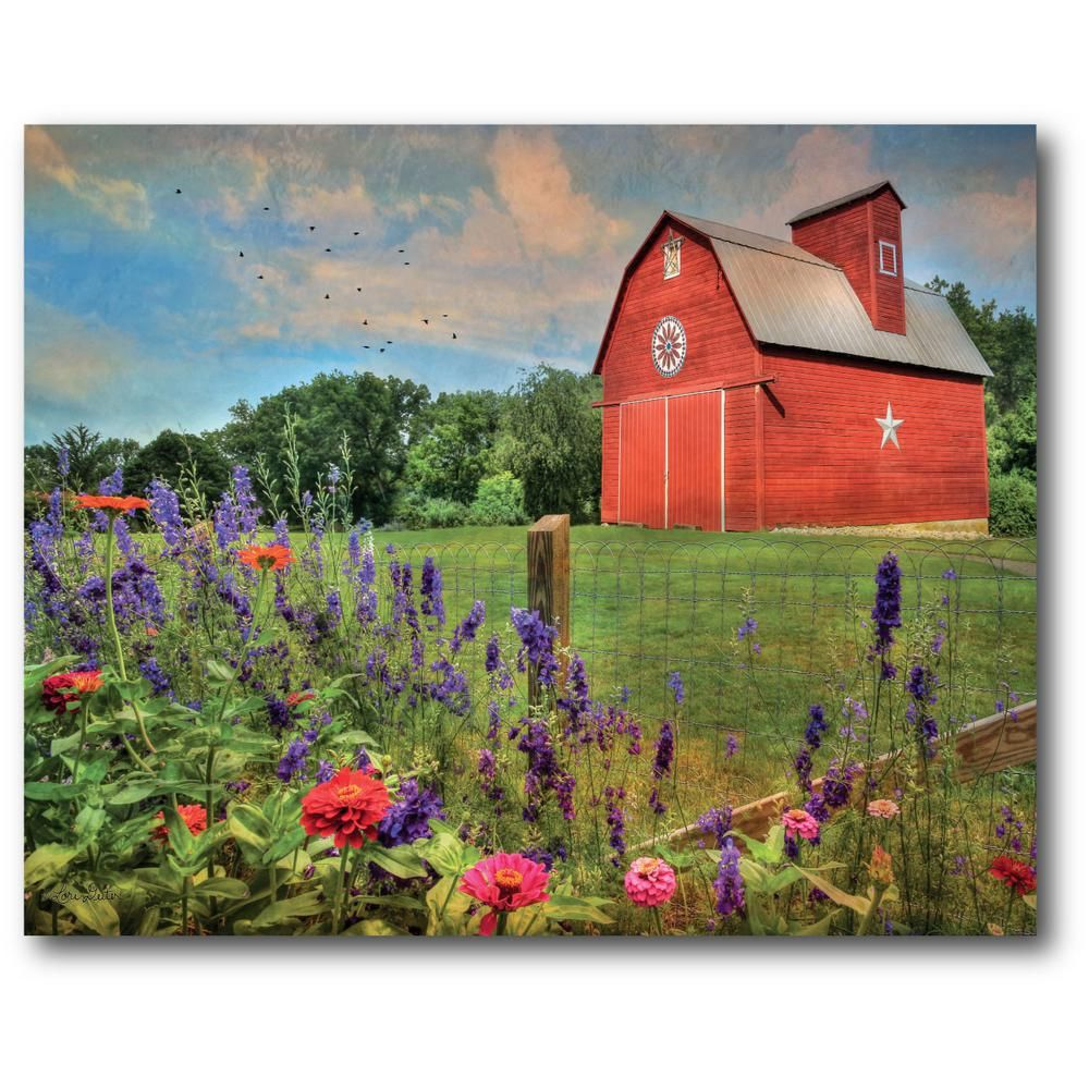 16 In X 20 In Wild Flowers With Red Barn Canvas Wall Art Web Ff446 Red Barn Painting Barn Painting Farm Paintings