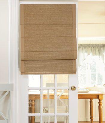 Thermal Woven Roman Shade Bordered 72 Long For Bedroom Windows Coastal Inspired Retreat