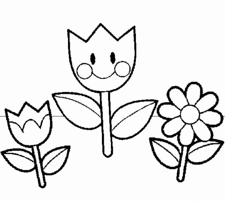 Spring Flowers Coloring Pictures Unique Cartoon Spring Flowers Cliparts Spring Coloring Pages Flower Coloring Sheets Summer Coloring Pages