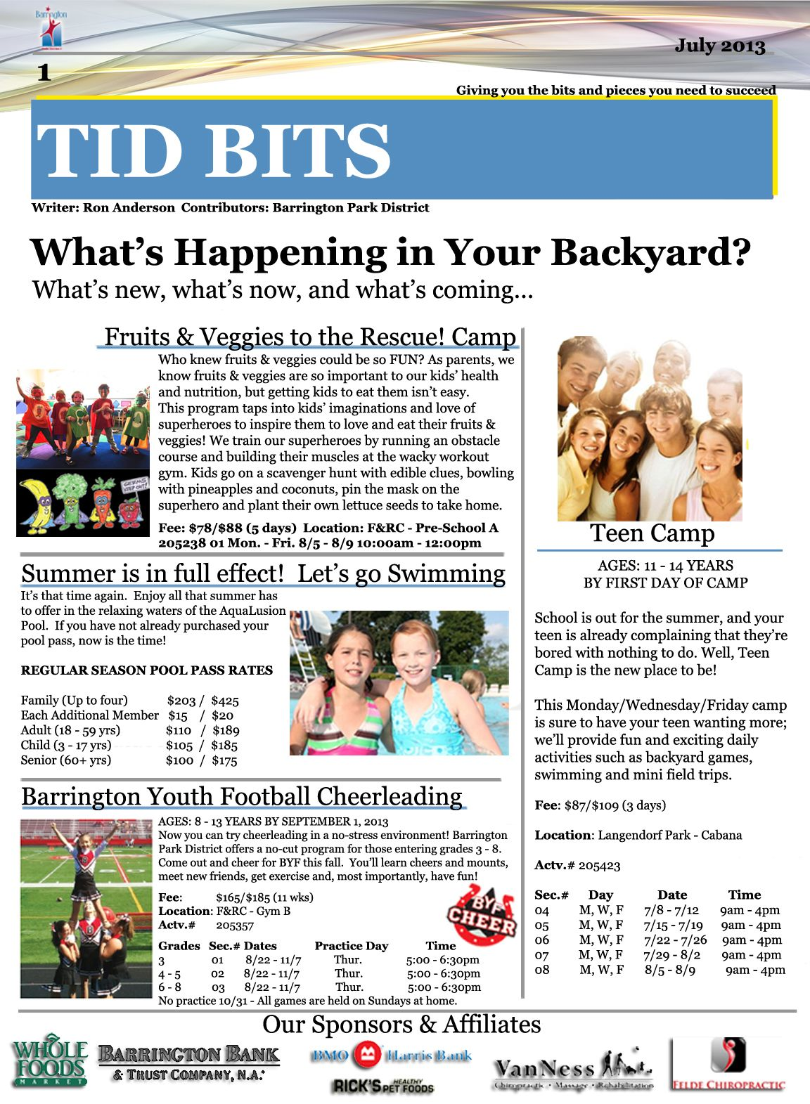Park District Monthly Newsletter Back  Newsletters  Email