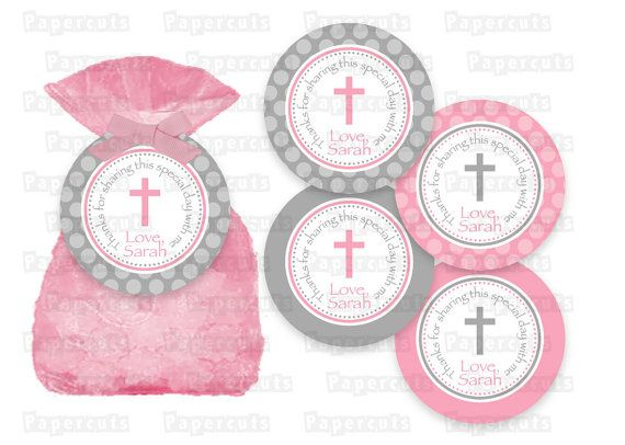 Baptism or first holy communion favor tags pink grey printable diy pink and grey baptism or first by papercutspartyshop negle Choice Image