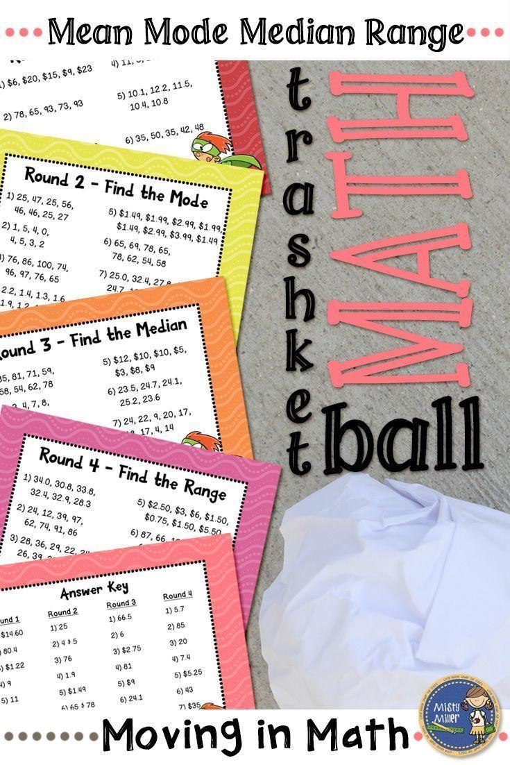 Mean Mode Median Range Trashketball Math Game Math